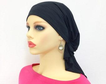 Pre Tied Chemo Head Scarf~Women s Cancer Scarves~Chemo Headwear~Turbans~ Chemo Gifts~Boho Charcoal Knit Scarf 579 a81b8979d157