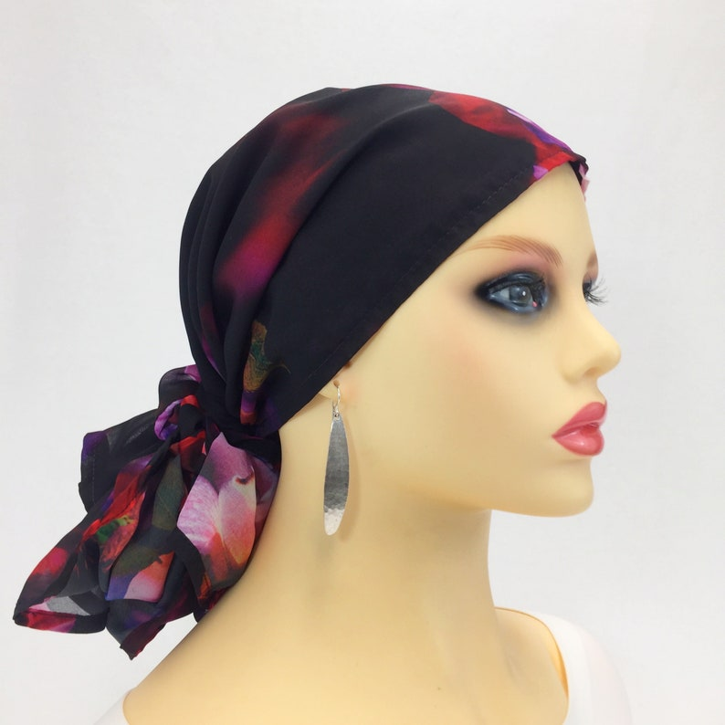 14771e3a094 Pre Tied Chemo Head Scarf~Women s Cancer Scarf~Chemo Hat~Chemo Gift~Sheer  Chiffon~Black Floral~Adjustable Toggle~Wear it Long or Short 562
