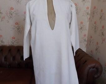 Antique French Pure Linen Nightshirt. Monogram 'JB' Linen Night Shirt. Antique Nightshirt. French Linen. SNZh1FO