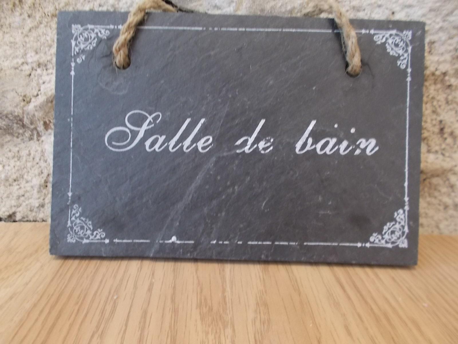 Salle De Bain Plaque french slate door plaque. vintage french grey slate salle de bain  (bathroom) plaque. french room sign. door plate. door sign