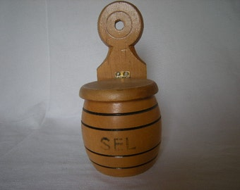 French Vintage Turned Wood Sel (Salt) Box. French Salt Container 1960's