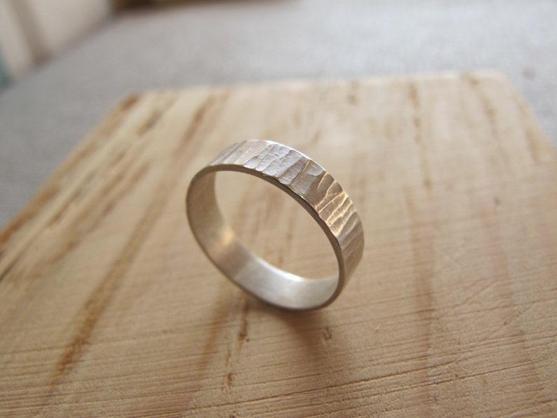 Sterling silver ring with rustic hammered bark texture nature image 0