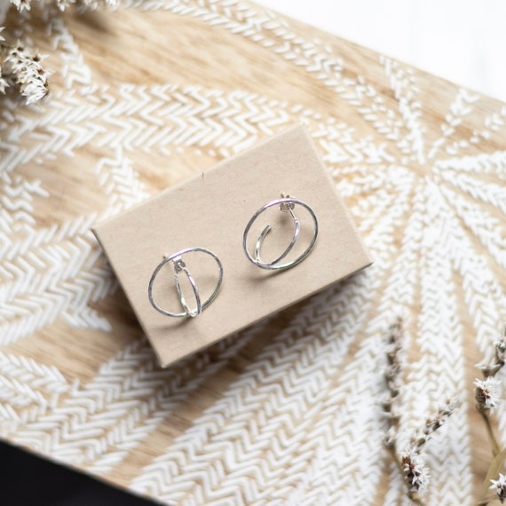 Double hoop earrings, made with recycled eco sterling silver, unusual studs