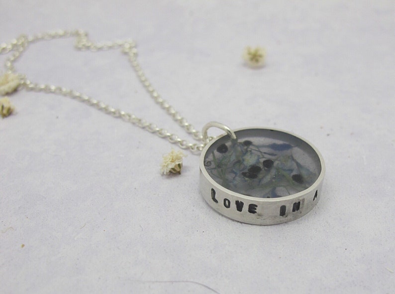 Resin and recycled silver long pendant with pressed flowers image 0