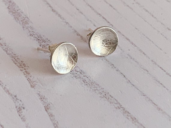 Sterling silver domed stud earrings with delicate hydrangea skeleton petal texture, recycled eco silver,unique, rustic, pattern, flowers