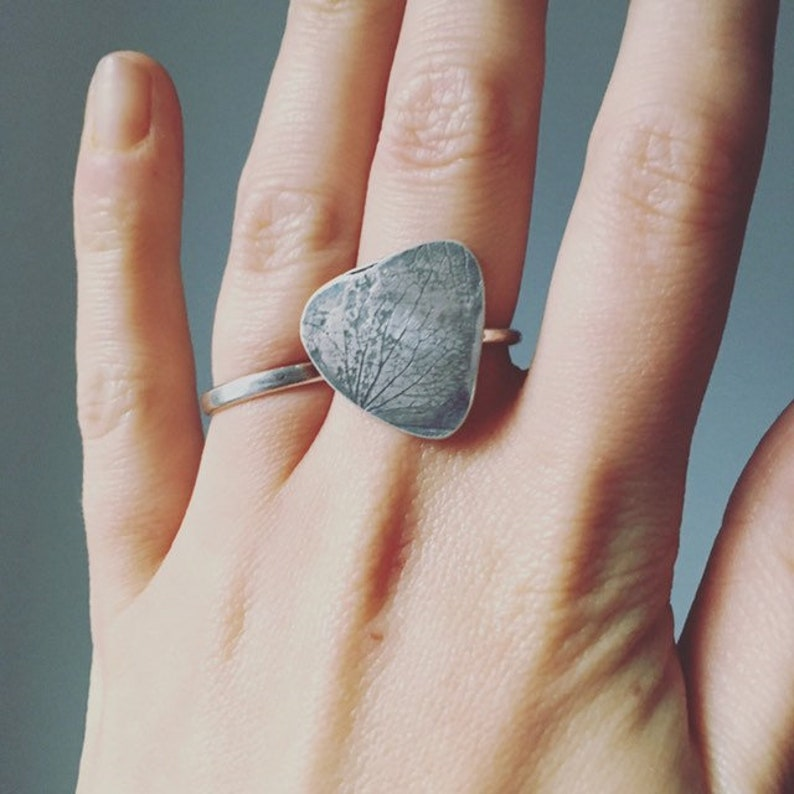 Statement geometric ring recycled sterling silver with large image 0