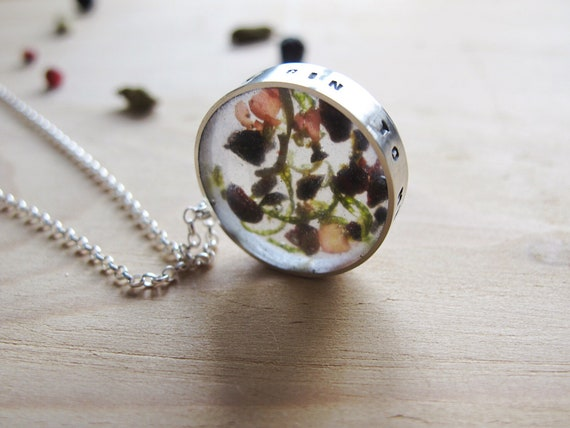 The gin to my tonic, gin inspired pendant, recycled sterling silver necklace with gin botanicals set in a clear resin