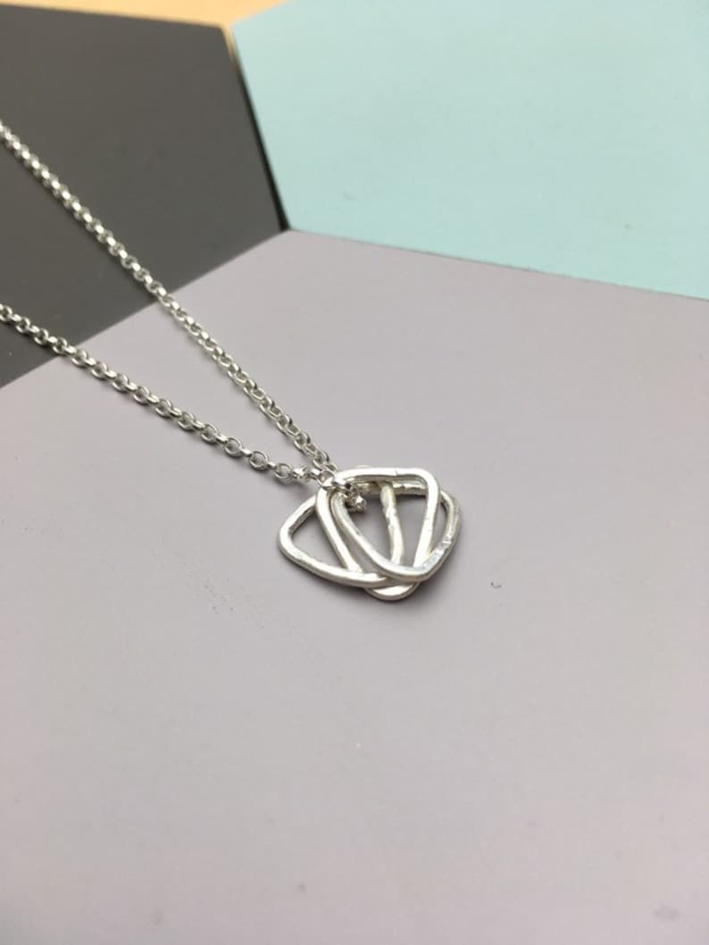 Geometric sterling silver triangle necklace cute 3 triangles image 0