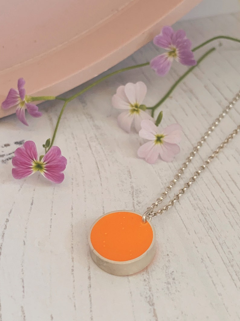 Orange resin and recycled sterling silver necklace round image 0