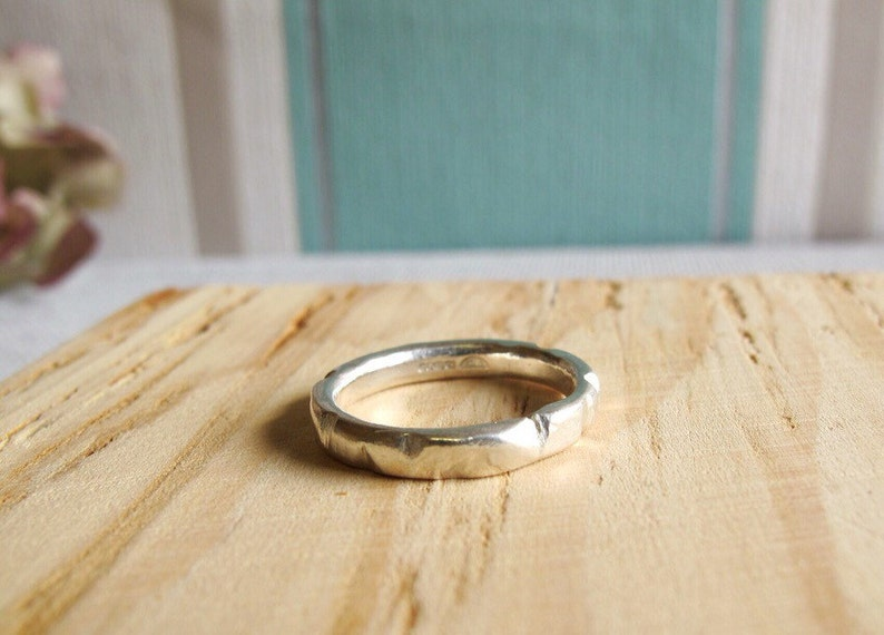 Recycled sterling silver ring with hammered texture. Rustic image 0