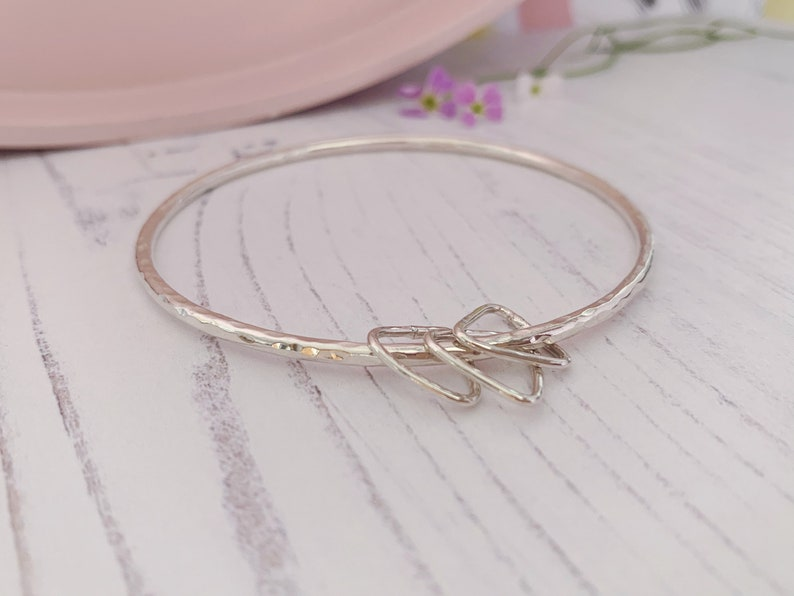 Sterling silver round bangle with triangle charm rings 2.5mm image 0