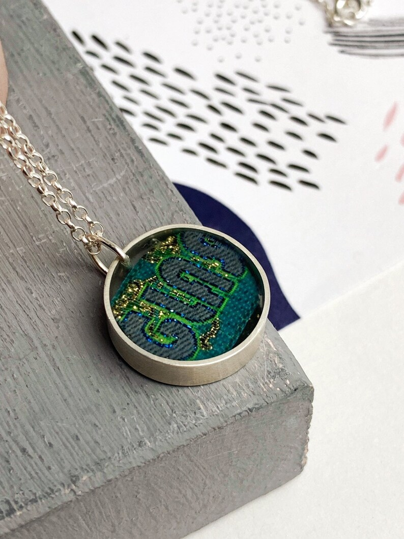 Sterling silver and resin glastonbury band pendant set your image 0