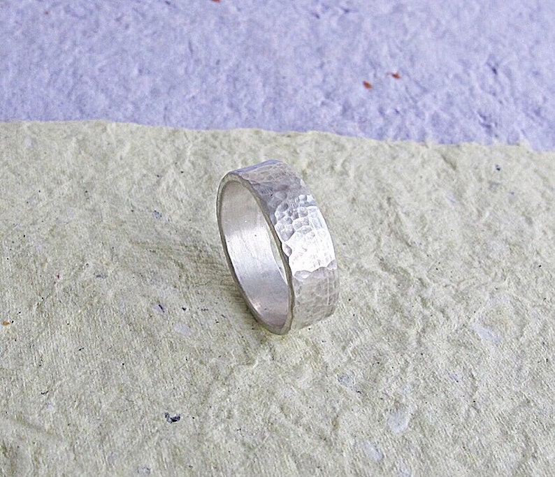 Sterling silver wide band ring with a hammered beaten texture image 0