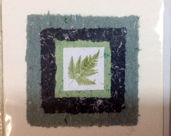 Handmade card made from recycled paper!  Fern design.