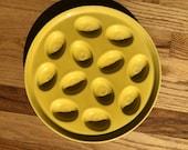 Vintage Original Homer Laughlin Fiesta, Fiestaware, Sunflower, yellow, Deviled Egg, Easter Egg Plate, 11 inch Diameter.