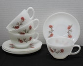 Vintage Fleurette, set of 4 Coffee Tea Cup Saucer (8 Pieces) White Milk Glass Fire King - Red Pink Floral Pattern, Anchor Hocking