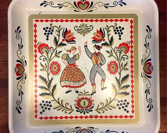 Vintage Scandinavian Folk Art Square Tray painted by Maxey