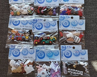 Dress It Up Buttons - Many to choose from Kids, sports, animals etc - Great Buttons for Embellishment for Scrapbooking, Cards, and Sewing