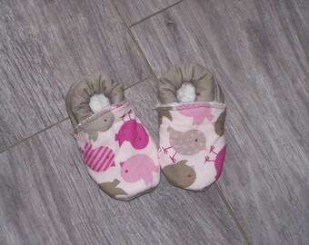 Bird patterned fabric baby shoes