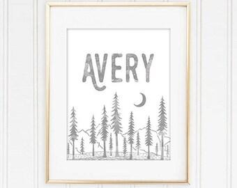 Custom Name Nursery Art,Custom Name Print, Woodland Nursery Decor, Baby Name Print, Mountains Nursery Decor, Your Quote or Phrase