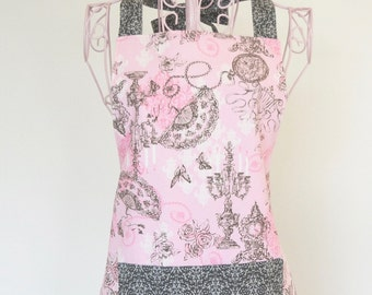 Large Ruffled Apron-Pink and Gray
