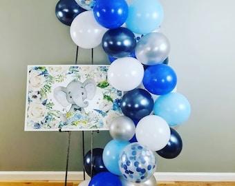 Balloon Garland Kit / Balloon Arch blue silver and white / balloon backdrop
