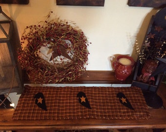 Primitive black crow table runner