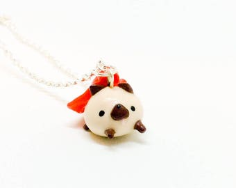 Cute Mini Super Pug. Polymer Clay Miniature Dog Lover Necklace. Handmade Gag Novelty Necklace.