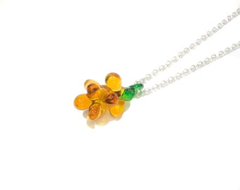 Amber Bunch of Grapes Glass Lampwork Fruit Pendant Long Necklace. Gift for Her. Mothers Day. Mother in Law. Wine Lovers. Berry Necklace
