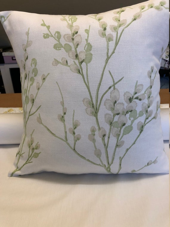 TWO  HANDMADE CUSHION COVERS IN LAURA ASHLEY PUSSY WILLOW NATURAL