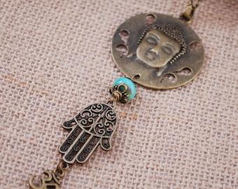 Big Buddha pendant, Ohm symbol necklace, spiritual jewelry, yoga gifts, charm necklace, hamsa hand necklace