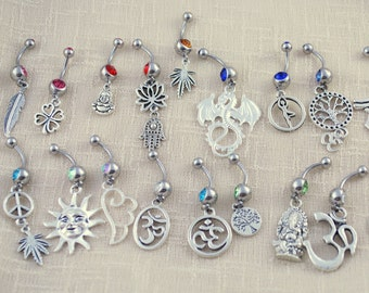 Belly button ring, navel piercing,  body piercing supply, piercing nombril, simple hippie gypsy jewelry, bauchnabel piercing