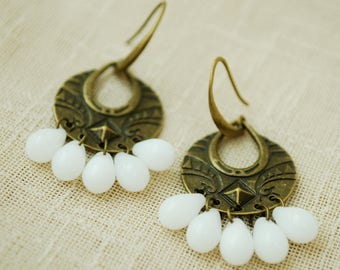 Teardrop white bronze earrings, Simple Design Jewelry, Bohemian beaded earrings, Tribal ethnic Statement jewelry, Oriental boho earrings