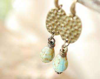 Tiny green white teardrop earrings, unique design wire jewelry, elegant bohemian earrings, Estibela design