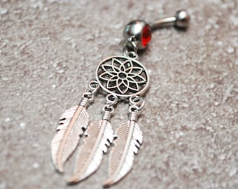 Dream catcher belly ring, hippie purple button jewelry, silver navel piercing, belly dancer, feather belly ring, musthave