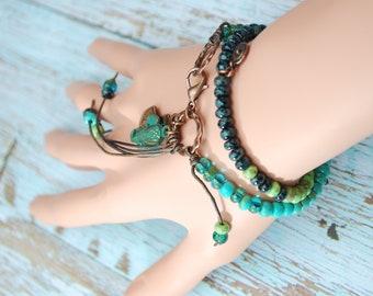 2 turns beaded leather bracelet, blue, green and turquoise colors bracelet, fringe ring bracelet, hippie boho bracelet, elephant bracelet