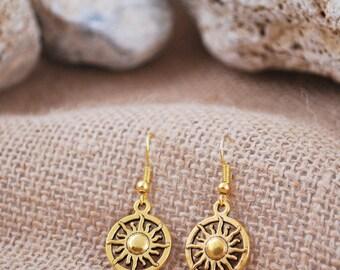 Sun earrings, delicate gold tone earrings, summer beach earrings, jewelry handmade, round dangle earrings, tribal earrings