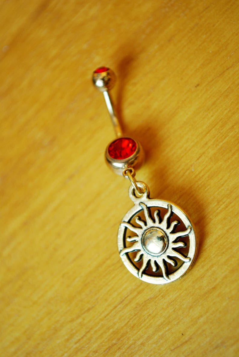 Gold sun belly ring Celestial jewelry Yoga namaste belly image 0