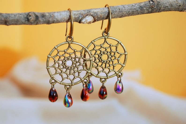 Free spirit Dream catcher drop earrings yoga hippie girls summer beach style simple easy wear jewelry big boho dark red purple  earrings