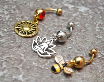 Set of 3 belly rings, Gold Bee belly ring,  lotus belly ring, gold sun belly ring
