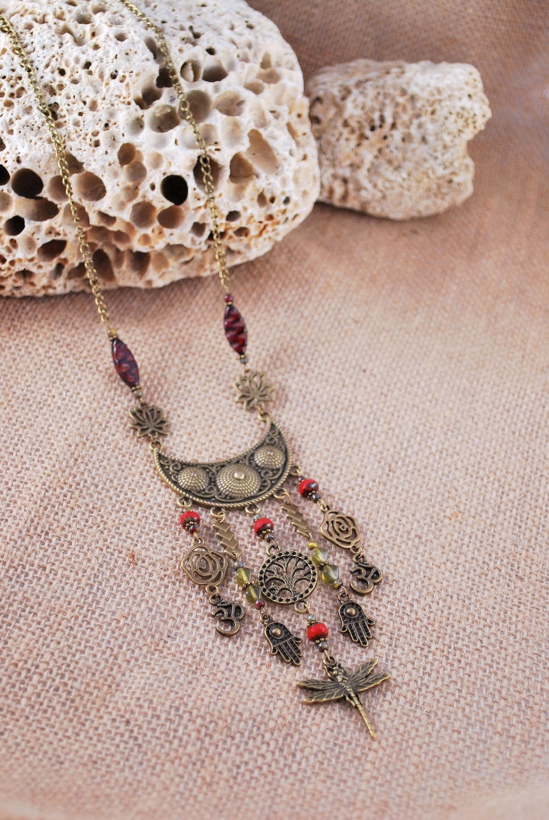 Hamsa hand Rustic dark red beaded unique dragonfly necklace flower ohm yoga necklace tree of life