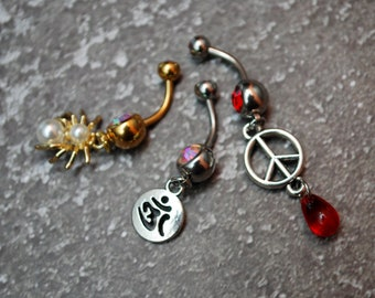 Set of 3 belly rings, Spider gold color belly ring, ohm silver belly ring, peace charm red belly ring