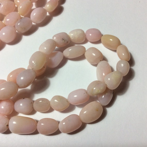 Smooth oval beads Natural Pink Opal Pink Peruvian Opal beads