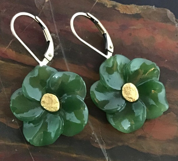 Earring, Green Jade carved flowers, Nephrite Jade