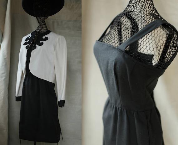 d32d6899cdc Vintage black and white dress suit set audrey hepburn style