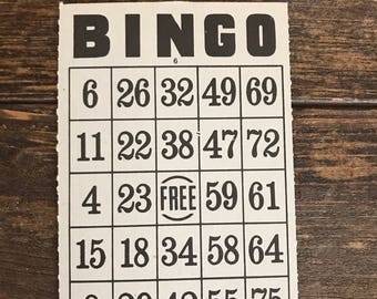 Vintage Bingo Cards (5) / Set of 5 Bingo Game Sheets for DIY Craft Projects / Art Supply / mixed media art