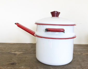 Vintage Enamel Pot / Vintage Enamelware Double Boiler