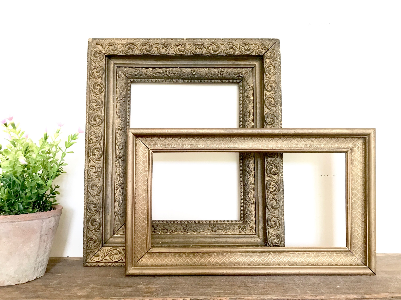 Pair of Vintage Wood Gold Frames / Antique Gold Wood Frames
