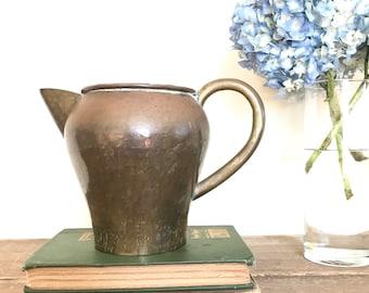 Vintage Brass Pitcher / Vintage Brass Watering Can / Hammered Brass Pitcher
