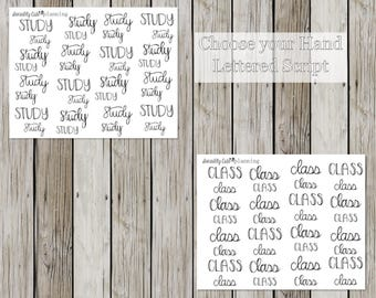 Student Hand Lettered Script Stickers for a Personal Sized Planner/ECLP